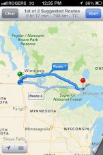 The road from Altona, MB to my next stop at Thunder Bay, ON. Over nine hours on the road.