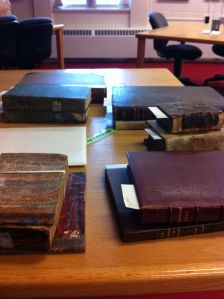 The selection of books Andrew had pulled from the archives at Acadia University.