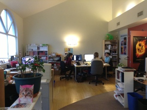 Part of the ECW office. With 11 people in this room, it's time for a bigger place.