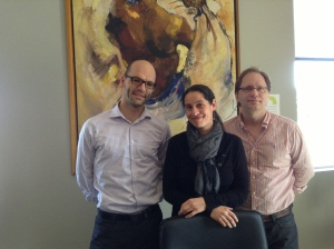 My hosts at Éditions Hurtubise: Arnaud, Yasmina, and David.