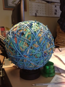 Should Corey ever want to part with this giant ball of elastics, I will suggest turning it into contest. Guess how many elastics!